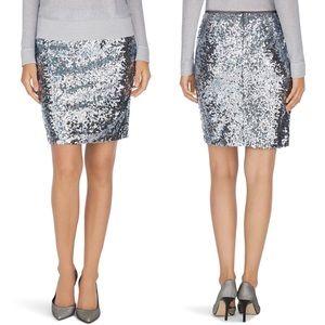 WHBM Silver Sequin Mini Pencil Skirt 2 NWT